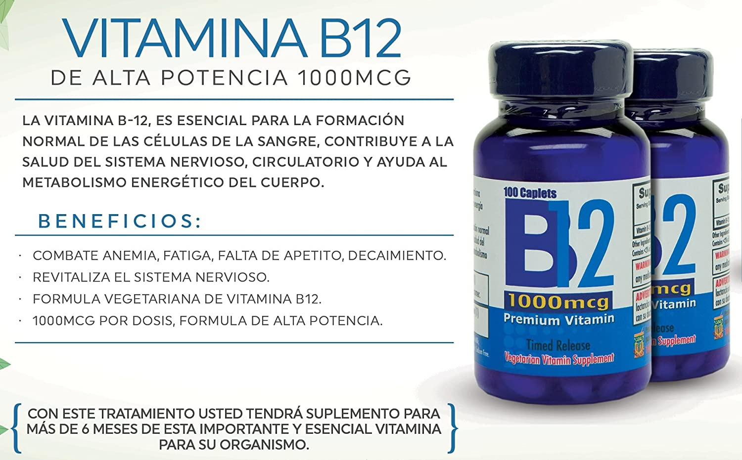Amazon.com: Vitamina B12 de alta potencia, 1000mcg, set de 2 ...