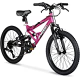 HY Ride on Smooth or Rough Terrain with 20inch Hyper Swift Magenta Girls Bike,with 7-Speed Twist Shifters,Front and Rear…