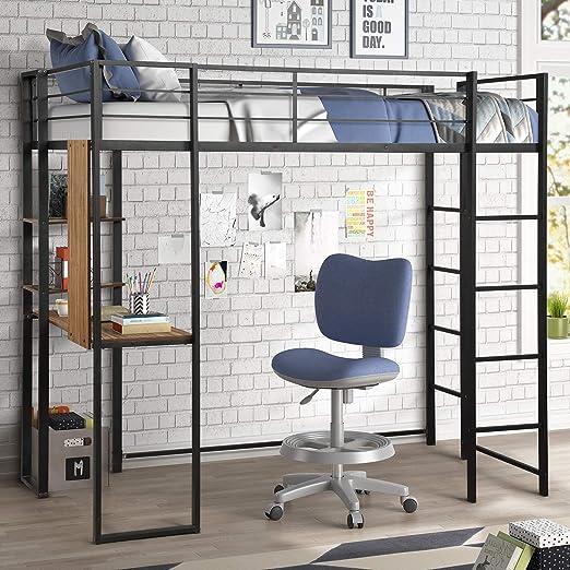 WeYoung - Cama Doble de Metal con Escritorio, Cama Alta con 2 estantes, 2 escaleras integradas para Dormitorio de Adolescentes, Color Negro: Amazon.es: Hogar