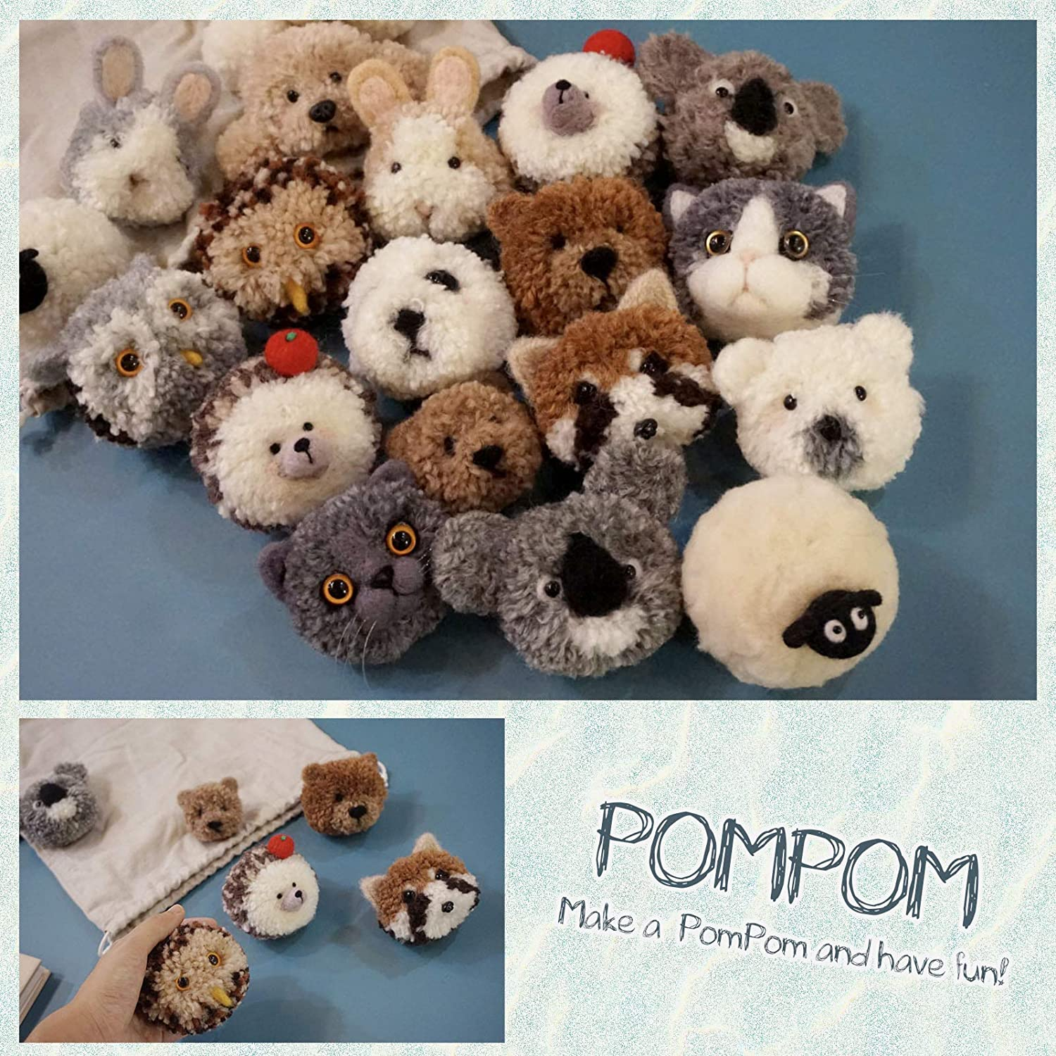 Wool Queen Pompom Adorable Animals DIY Kit Hedgehogs Bro Makes 2 Pom Pets Great for Arts /& Crafts Easy for Kids and Beginners