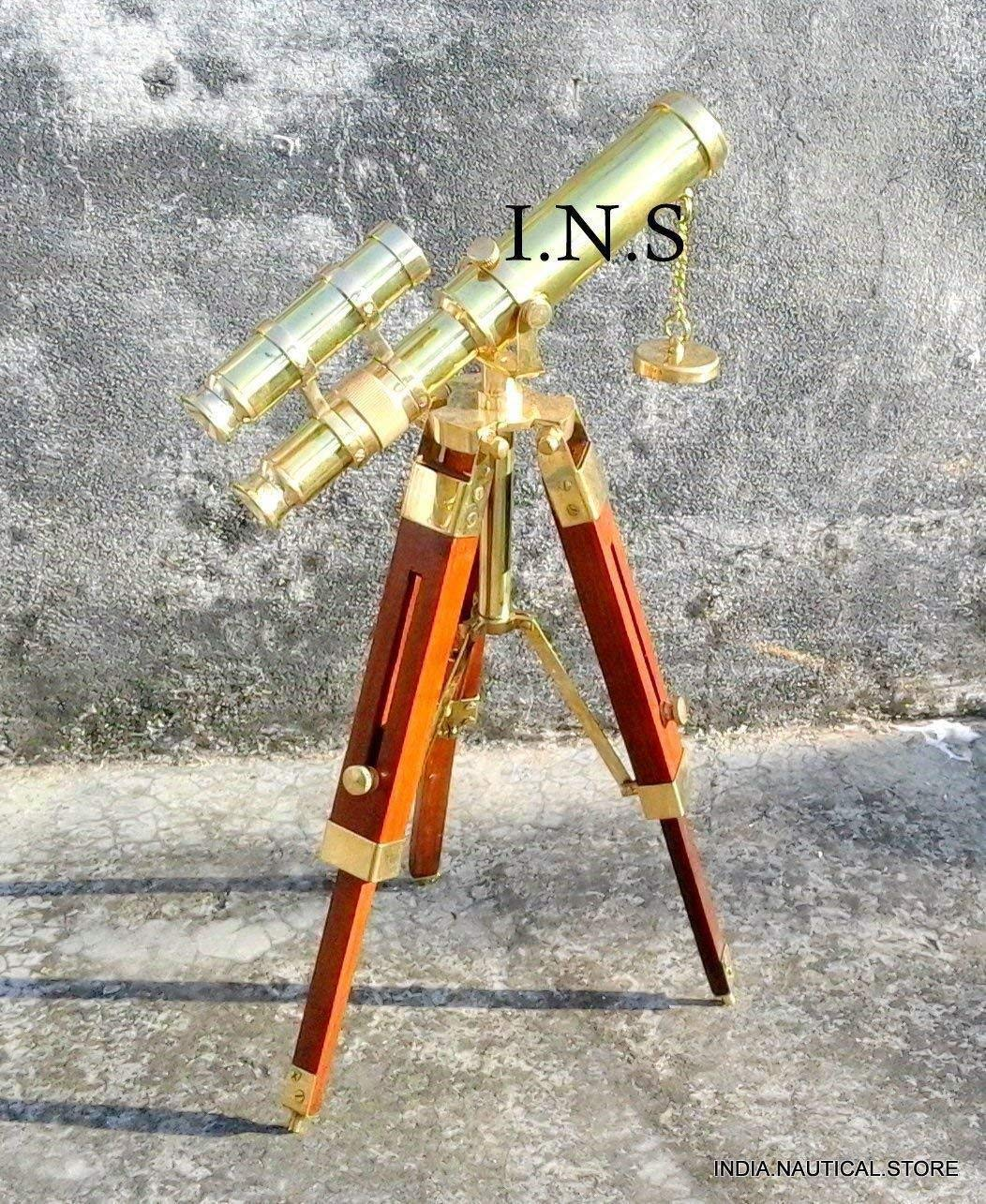 Arsh Nautical Marine Navy Vintage Brass Telescope with Brown Wooden Tripod Stand A