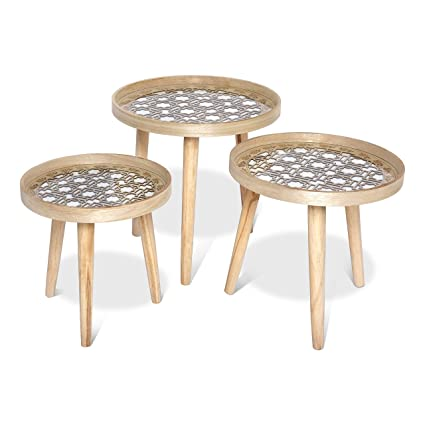 Urbancart Multipurpose Set Of 3 Wooden Coffee Table Side Table