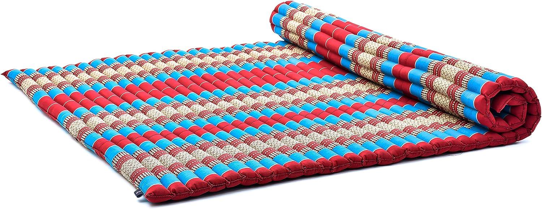 Leewadee Roll-Up Thai Mattress Guest Bed Yoga Floor Mat Thai Massage Pad XXL Queen-Size Eco-Friendly Organic and Natural, 79x59x2 inches, Kapok, Blue ...