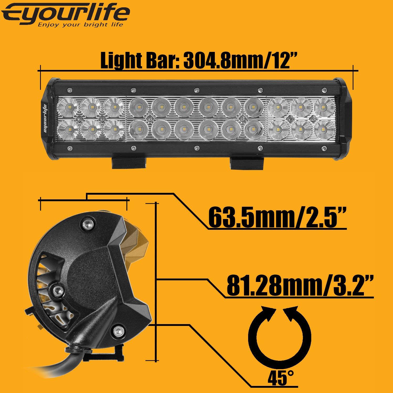72w Led Light Bar Eyourlife 12v Cree Off Road Fuse Box 12 Inch Work Spot Flood Combo Beam Daytime Driving Lights Fog