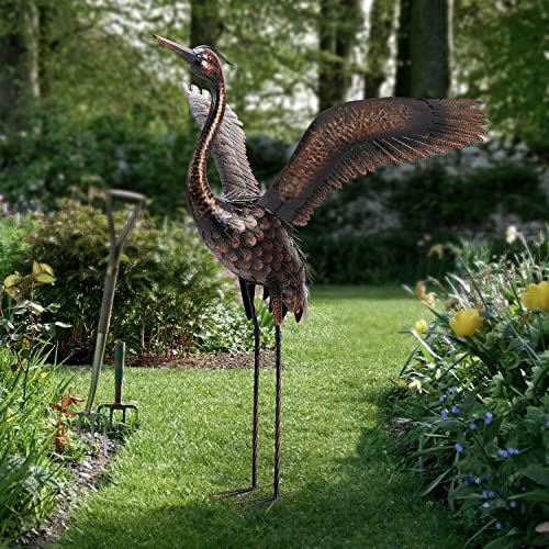Chisheen Garden Statue Heron Crane Yard Art Metal Sculpture Outdoor