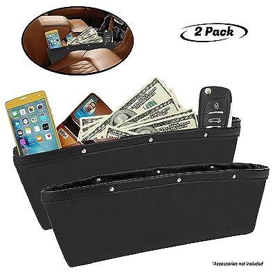 Lukling 2 Pack Car Seat Gap Filler Organizer Pocket, Seat Side Drop Caddy Catcher Gap Filler Premium PU Full Leather Seat Console Organizer Interior Accessories - Black: Automotive