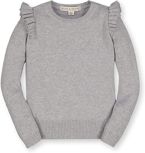 Hope & Henry Girls' Ruffle Shoulder Sweater