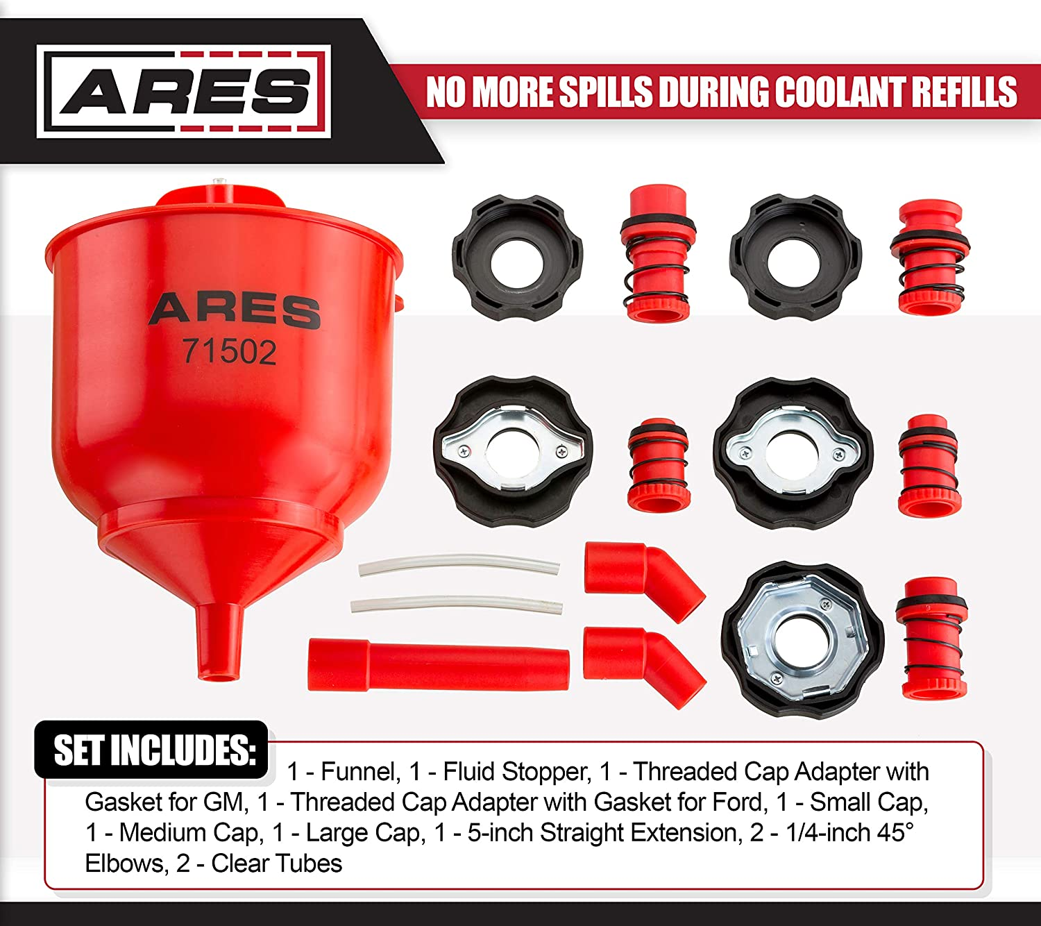 Eliminates Trapped Air Pockets and Squeaky Belts Due to Overflow ARES 71502 Spill Proof Coolant Filling Kit
