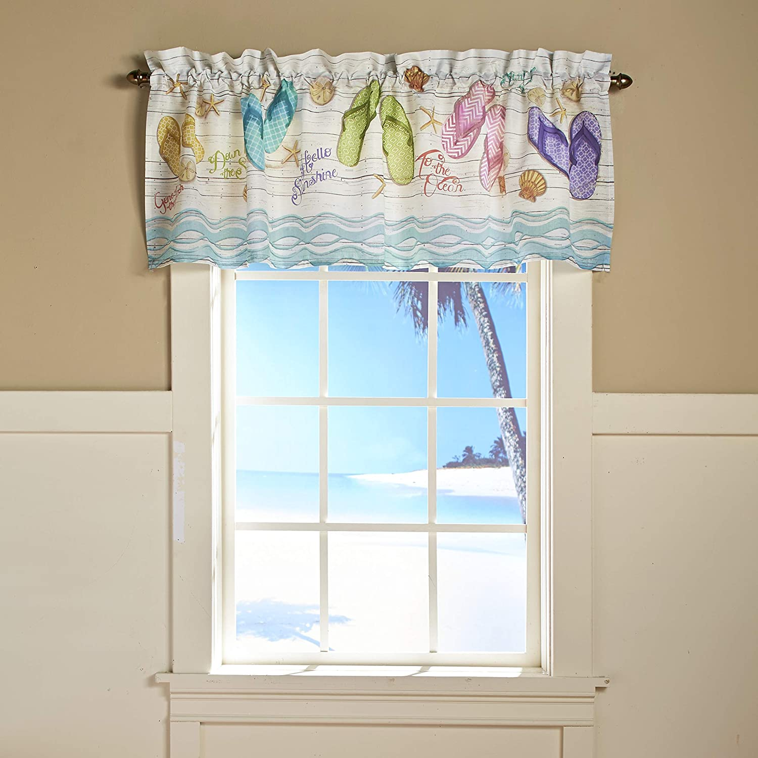 The Lakeside Collection Flip Flop Beach Theme Bathroom And Kitchen Window Valance With Pocket Home Kitchen Amazon Com