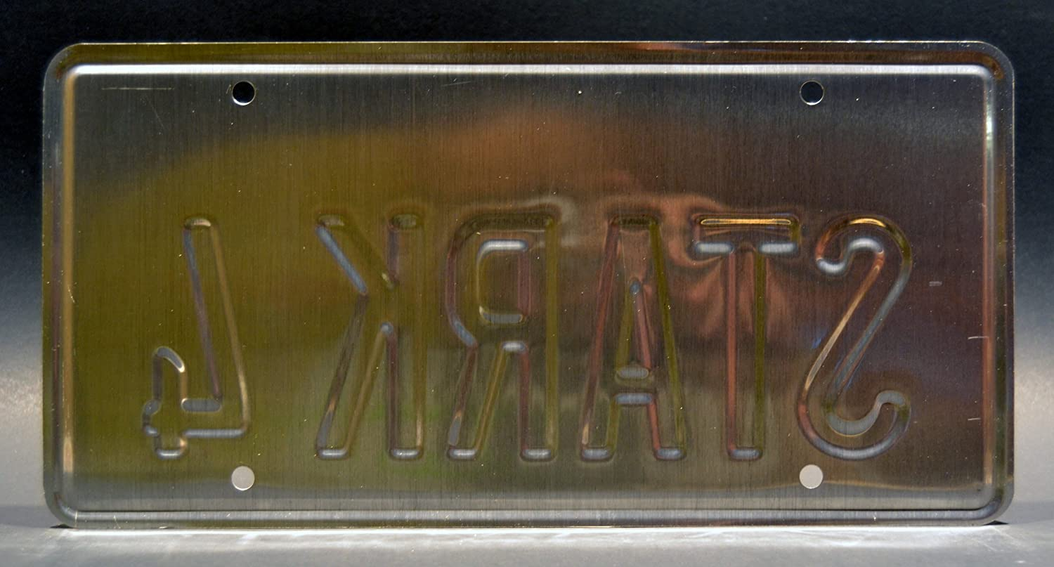 Celebrity Machines Iron Man Tony Starks 2007 Audi R8 Metal Stamped Vanity Prop License Plate STARK 4