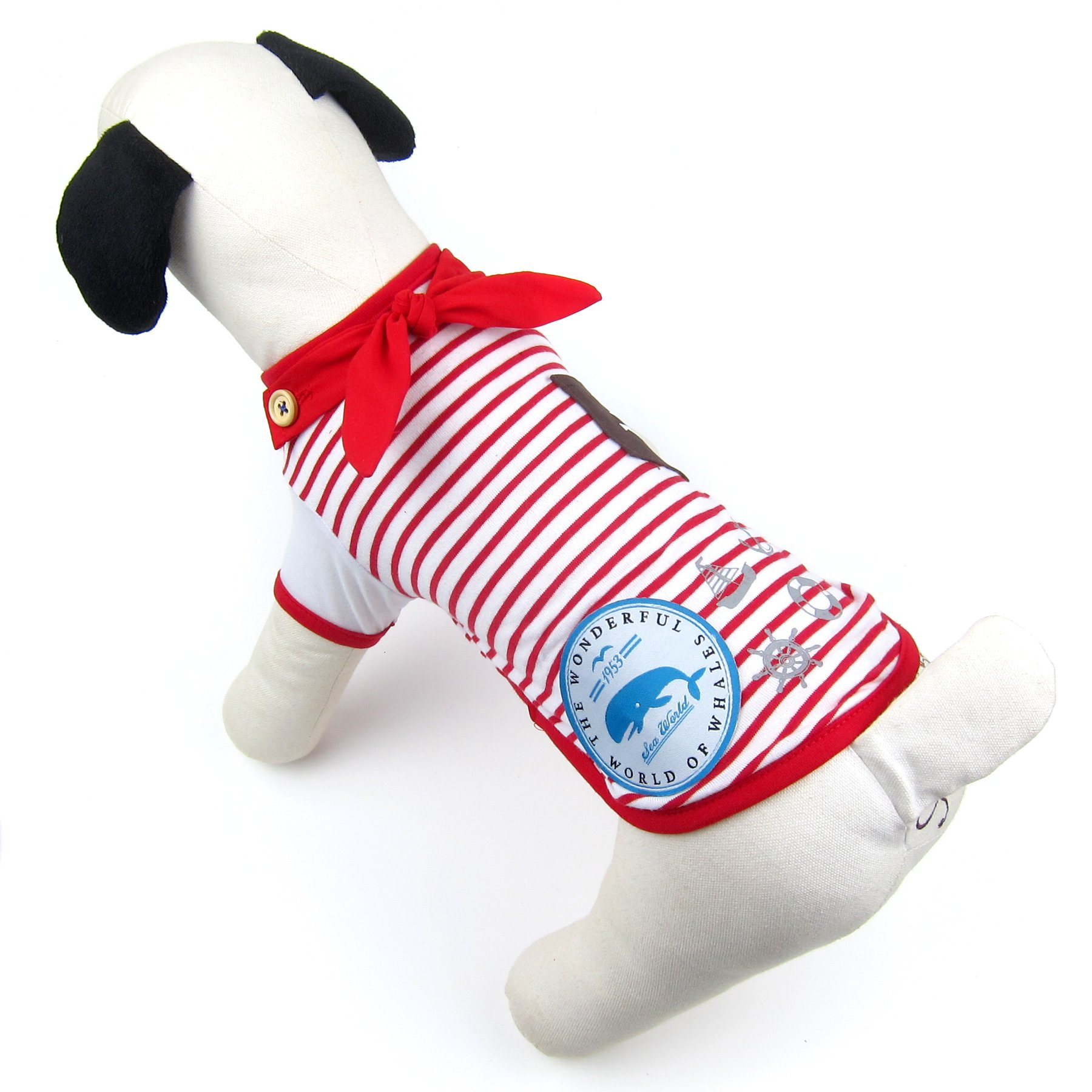 Alfie Pet by Petoga Couture - Finlay Sailor T-Shirt - Color Red, Size: XS