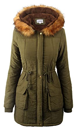 iLoveSIA Womens Warm Winter Parkas Coats Faux Fur Lined Overcoats ...