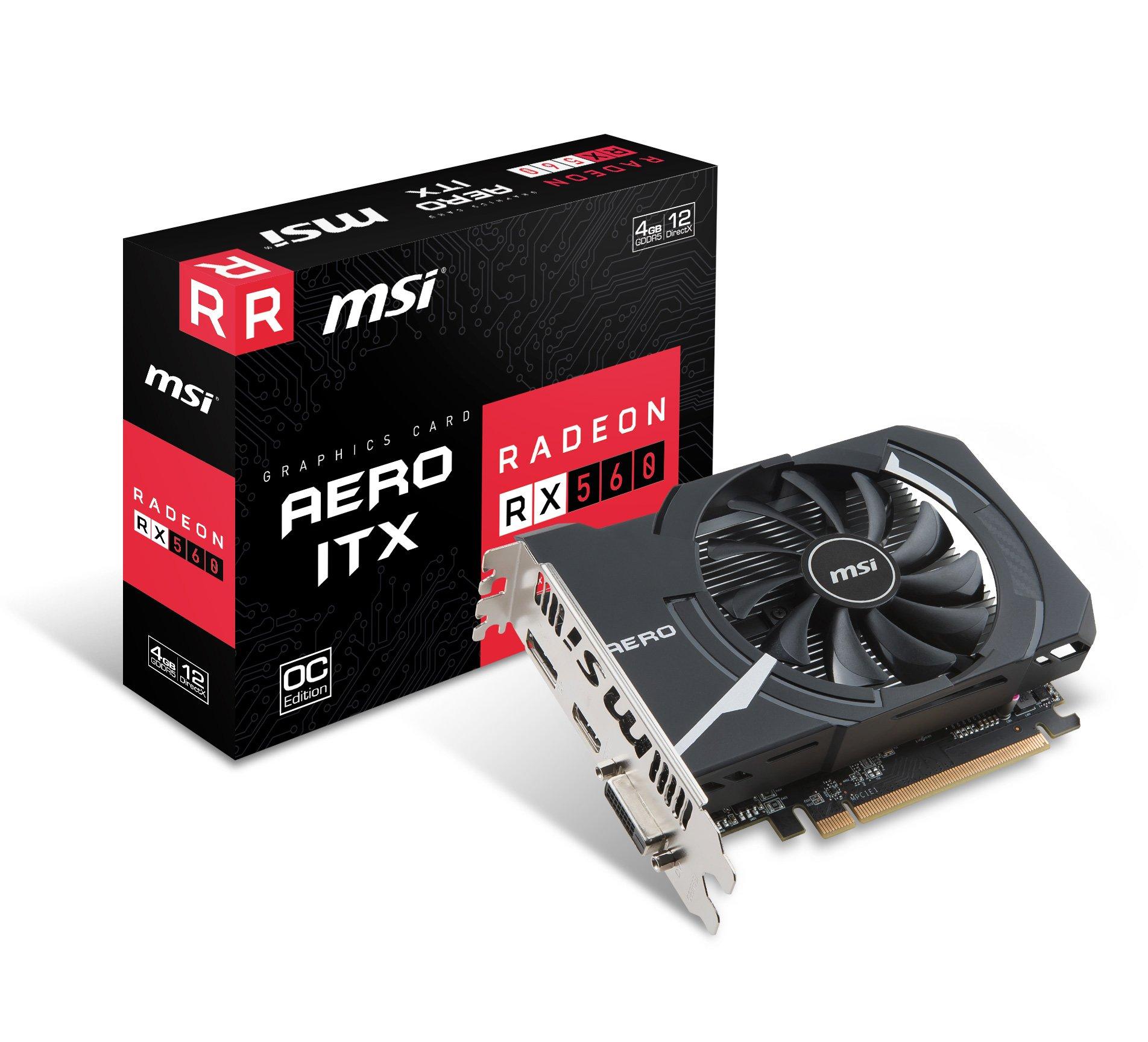 MSI Gaming Radeon RX 560 128-bit 4GB GDRR5 DirectX 12 VR Ready CFX Graphcis Card (RX 560 AERO ITX 4G OC)