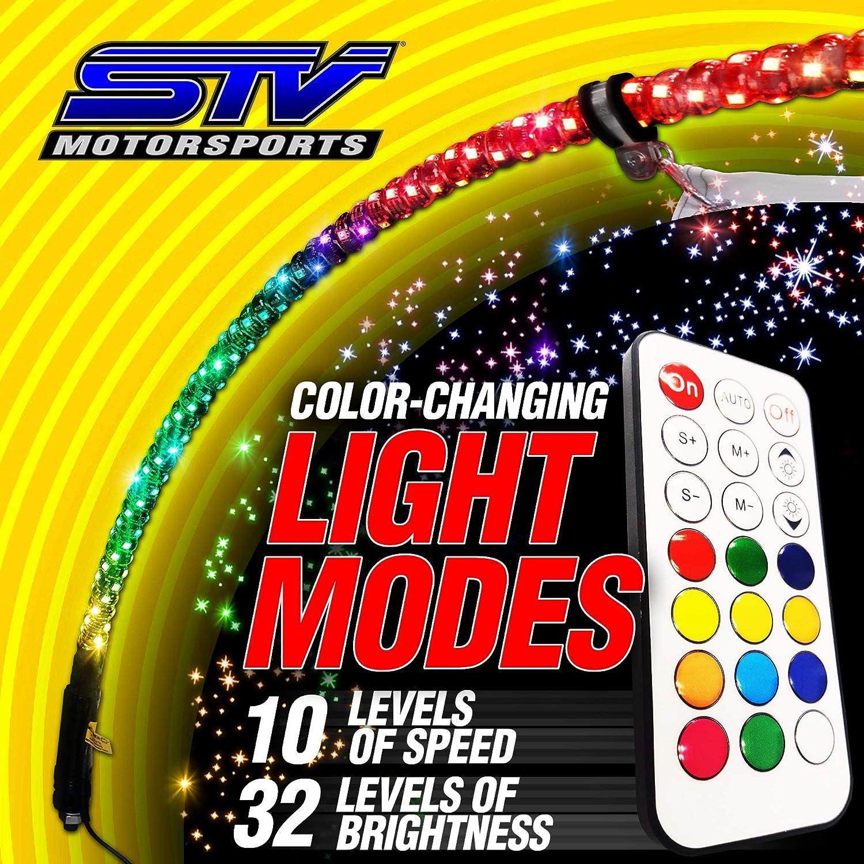 STV Motorsports LED Whip Light w//Flag 360/° Remote Wireless Control Spiral Antenna Lighted Whip with Dancing//Chasing Light for SxS ATV Quad UTV Polaris RZR Off-Road 4 Wheeler Sand Rail 1pc 4ft