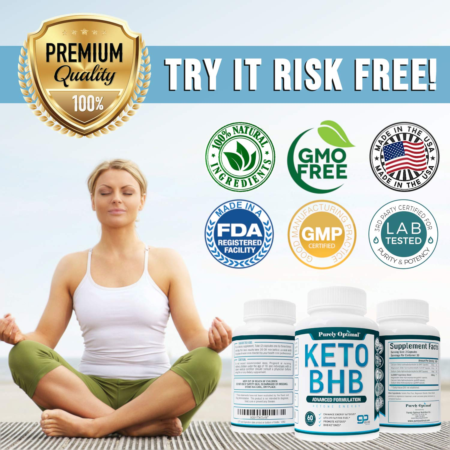 Premium Keto Diet Pills - Utilize Fat for Energy with Ketosis - Boost Energy & Focus, Manage Cravings, Support Metabolism - Keto BHB Supplement for Women and Men - 30 Day Supply by PURELY OPTIMAL (Image #7)