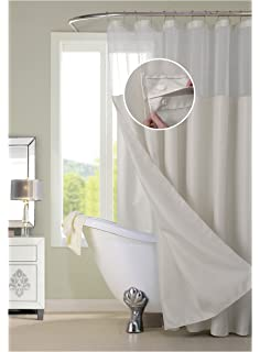 Dainty Home Complete Waterproof Shower Curtain With Detachable Liner In Off White