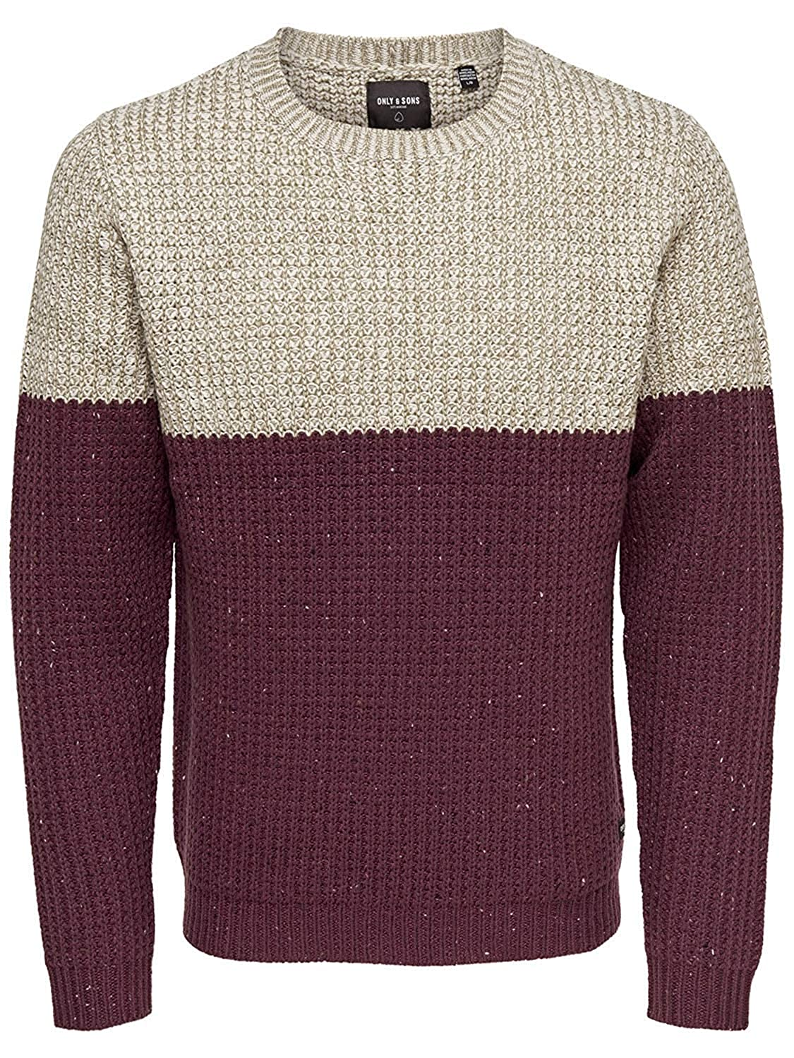 Only & Sons Men's Blocked Crew Neck Knitted Jumper