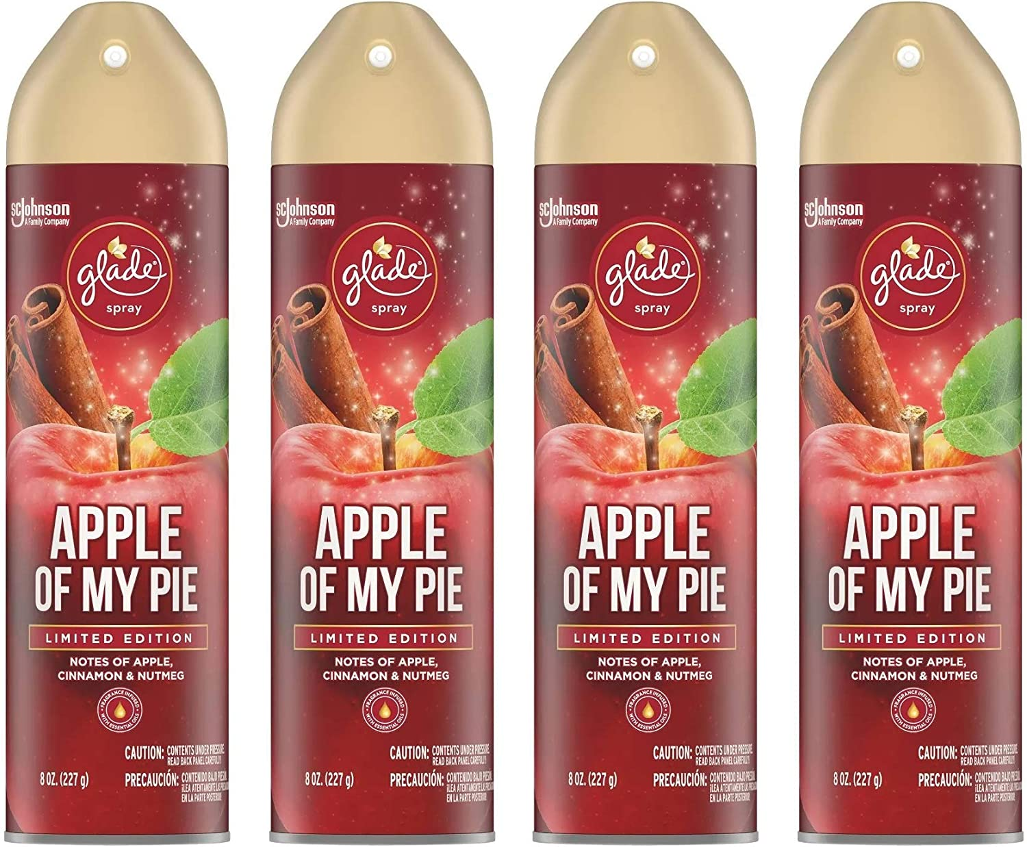 Glade Air Freshener Spray - Apple of My Pie - Holiday Collection 2020 - Net Wt. 8 OZ (227 g) Per Can - Pack of 4 Cans
