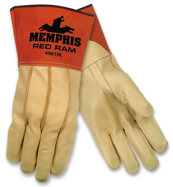 MCR Safety 49610L Red Ram Grain Pigskin MIG/TIG Welder Gloves with 4-Inch Gauntlet Split Pig Cuff, Cream, Large, 1-Pair by MCR Safety (Image #1)