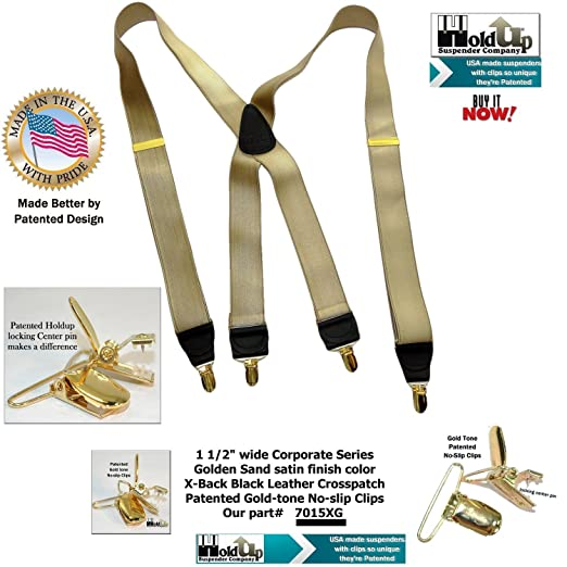 80973954b7f Holdup Corporate Series Golden Tan X-back suspenders dense weave satin  finished straps with Gold-tone No-slip Clips at Amazon Men s Clothing store