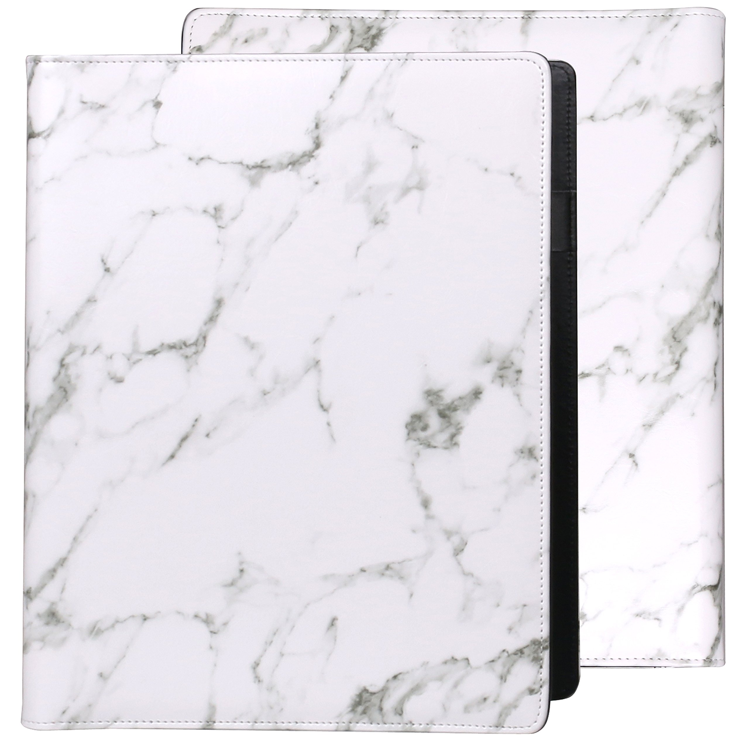 Z PLINRISE Luxury Marble Portfolio File Folder Document Resume Organizer,Padfolio File Holder Folders Letter Size,Standard 3 Ring Binder with Clipboard (Marble White)