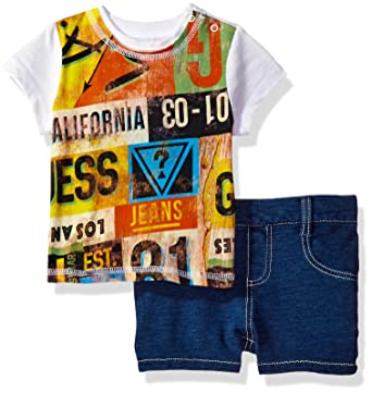 93a769420739 GUESS Baby Boys' Set Sleeve Graphic T-Shirt and Denim Shorts, Font Print