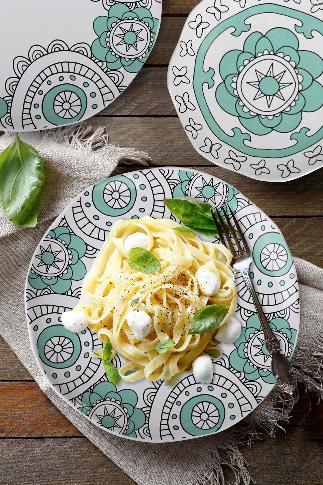 Dinner Plates Appetizer Salad Plate Set 4, Porcelain Mint Blue, Floral Pattern, Accent Serving Plates by LA JOLIE MUSE (Image #2)