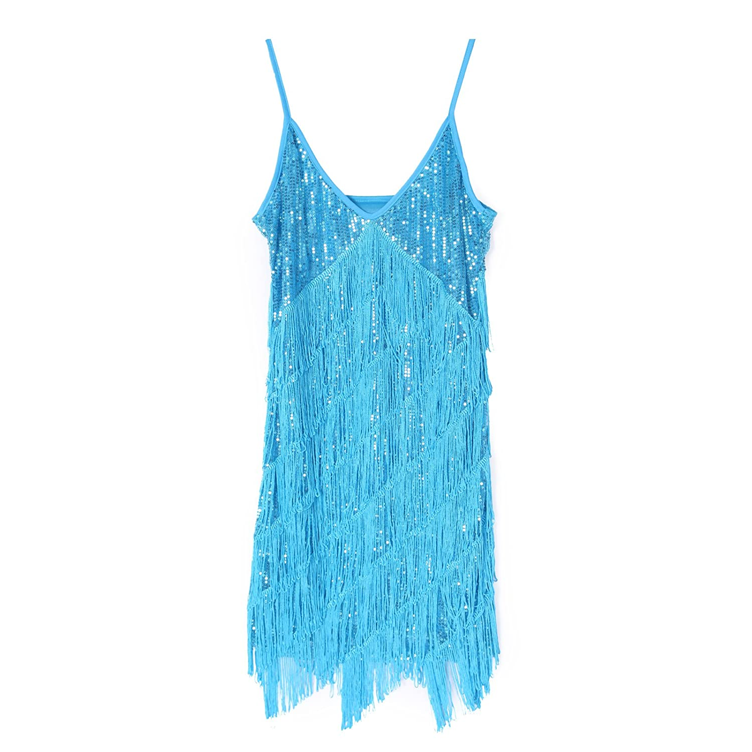 Amazon.com: Vintage 1920s Flapper Girl Sequin Fringed Cocktail Party ...