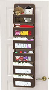 Simple Houseware Over Door/Wall Mount 6 Clear Window Pocket Organizer, Brown