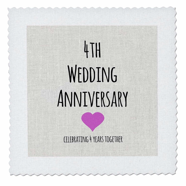 3dRose qs_154431_1 4歳 結婚 リネン 4周年記念 4歳 キルト 正方形 10 x 10インチ B00E69IQLQ