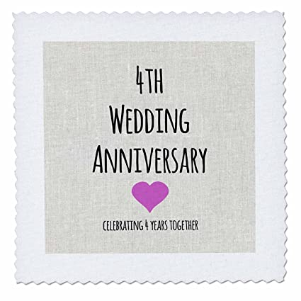 Amazon.com: 3dRose qs_154431_1 4Th Wedding Anniversary Gift Linen ...