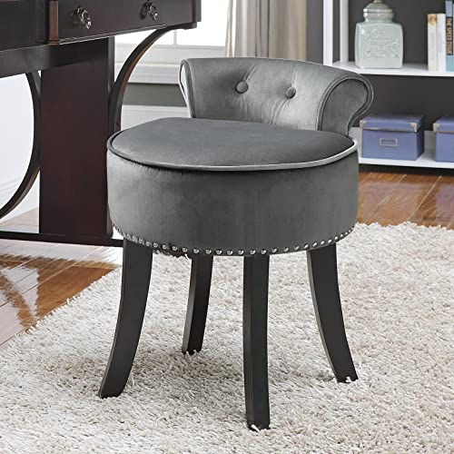 Inspired Home Taylor Velvet Contemporary Nail Head Trim Rolled Back Vanity Stool