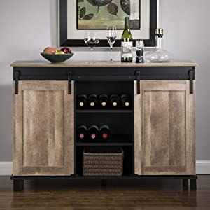 """Glitzhome Wood Rustic Wine Cabinet 3-Sections Bar Cabinet with Wine Storage 47.2""""L Sideboard Table with Sliding Doors Wood Sideboard with Wine Display for Kitchen Dining Room"""