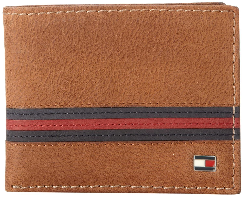 Tommy Hilfiger Mens Leather Yale Passcase Billfold Wallet Tan - Porte monnaie tommy hilfiger