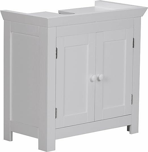 WOHNLING Bad Waschbecken Unterschrank 55,5 x 57 x 30 cm 2 Türen weiß Schrank Neu