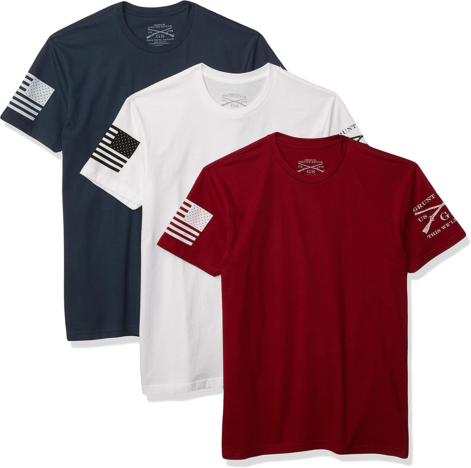Grunt Style Patriot Pack 3-Pack Men's T-Shirts: Clothing