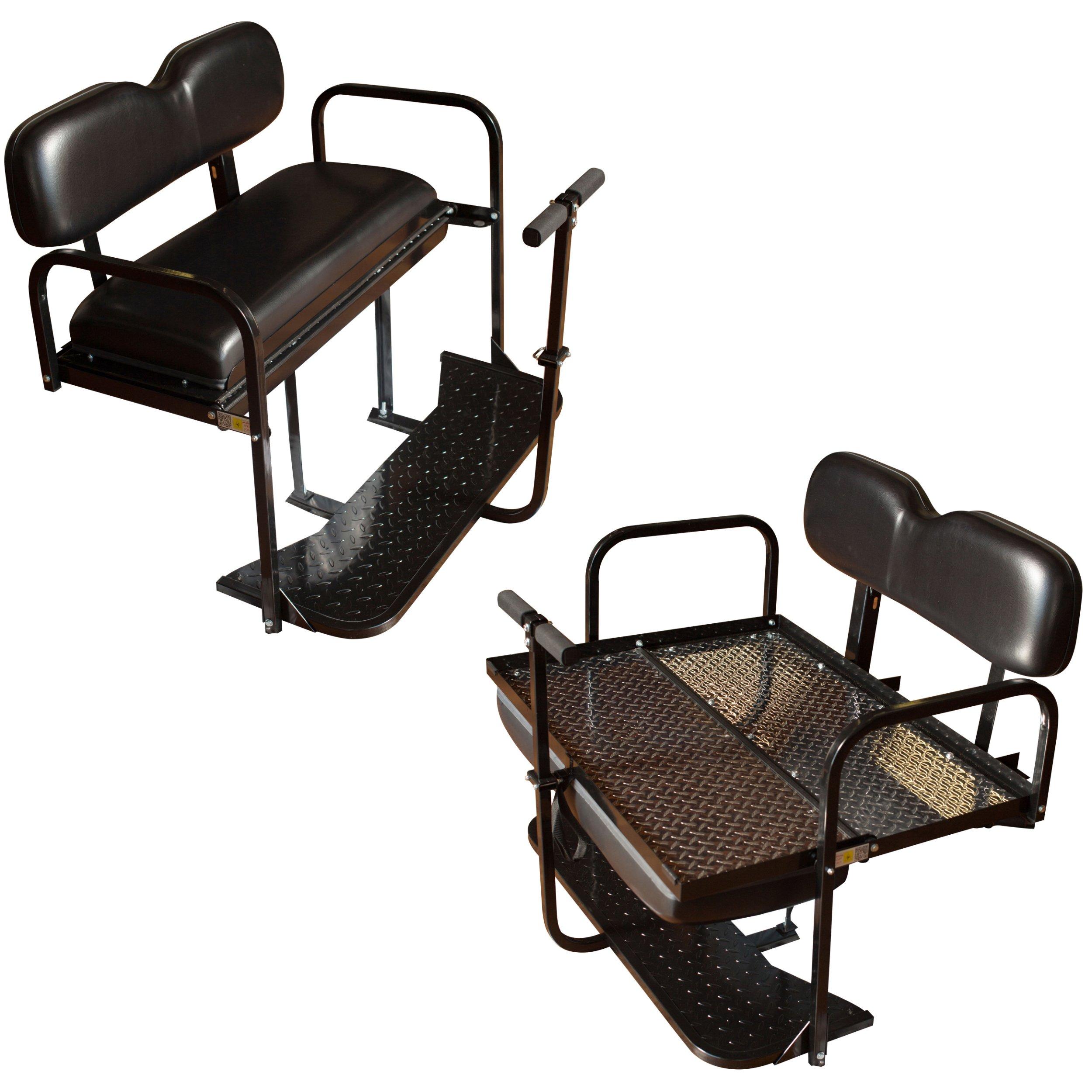 EZGO TXT Golf Cart Rear Flip Back Seat Kit - Factory Black