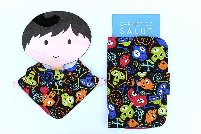 Portadocumentos bebé y babero bandana calavera, regalo recién nacido ...