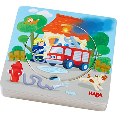 HABA Fire! Fire! Wooden Puzzle with Layered Disks for Ages 12 Months and Up: Toys & Games