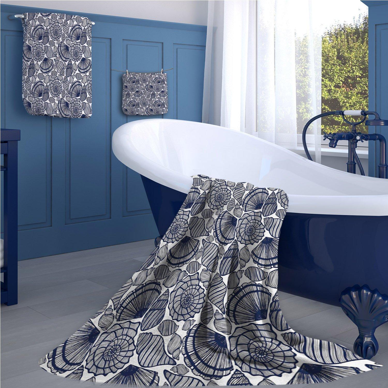 familytaste Navy Blue Bath towel 669D digital printing set Hand Drawn Scallops Line Composition Aquatic Animals Doodle Style Sketch bathroom hand towels set Dark Blue White