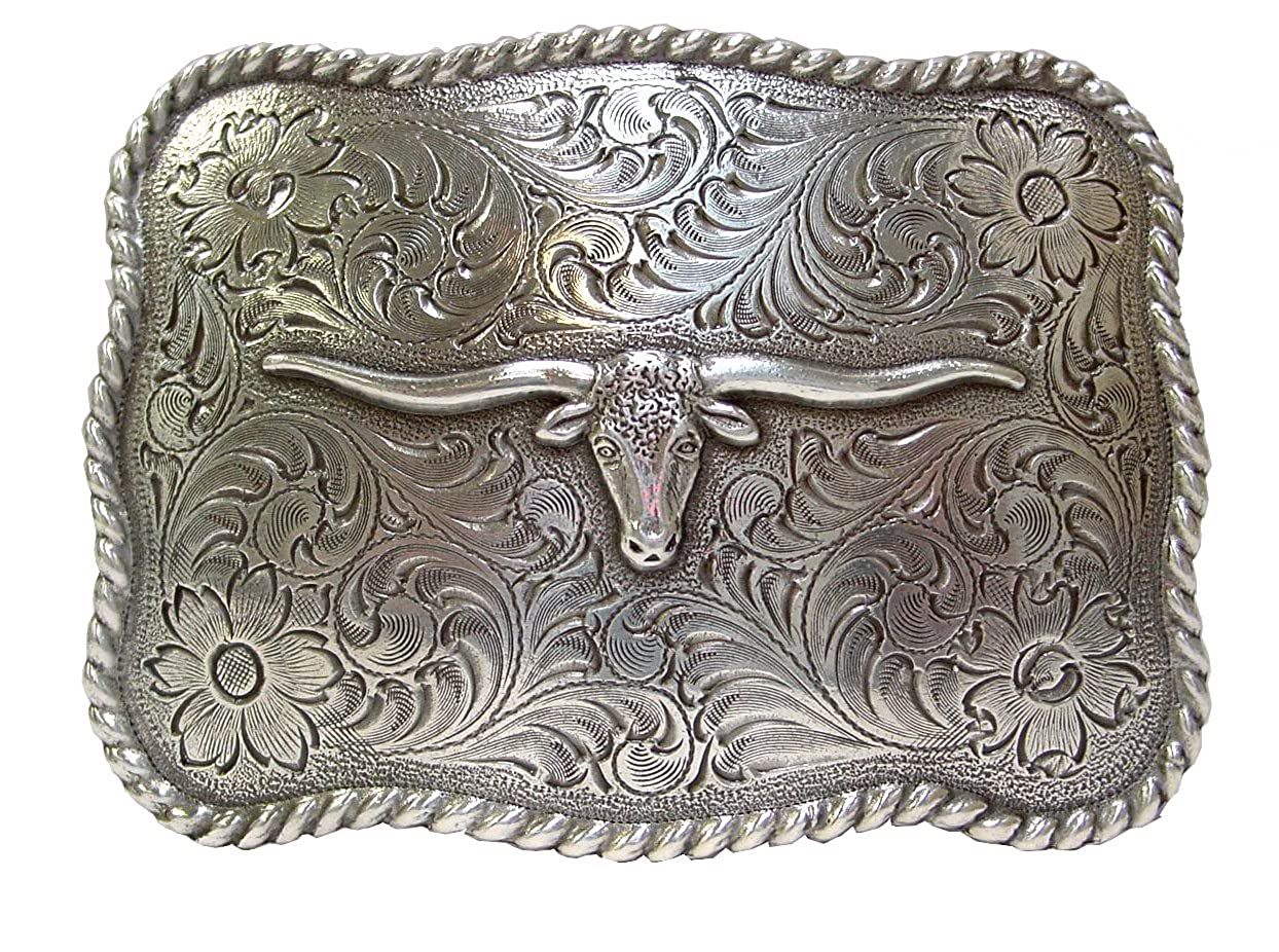 Longhorn Steer Head Western Rope Belt Buckle with Sterling Silver Finish