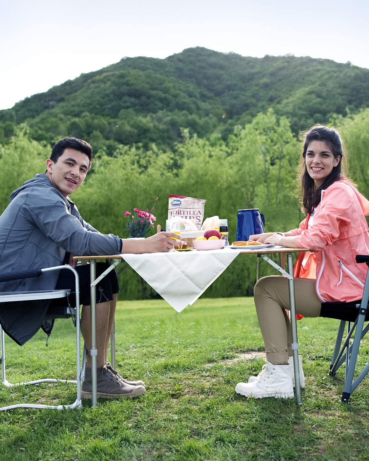 Large Size 31.5 x 23.6 ATEPA Bamboo Folding Camping Picnic Table with Adjustable Height Aluminum Frame