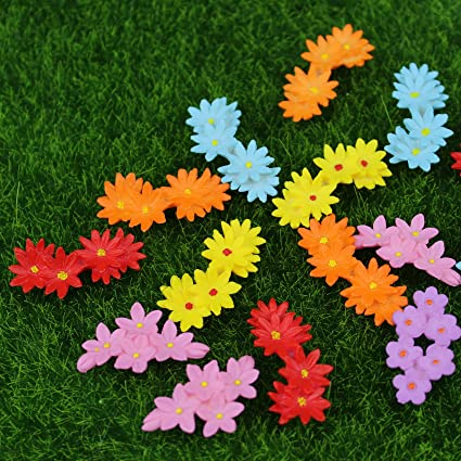 Danmu 15pcs Mini PVC Flowers Miniature House Fairy Garden Micro Landscape  Home Garden Decoration Plant Pots