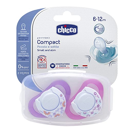 6 opinioni per Chicco 00074833110000 Compact Girl Succhietto, Silicone, Rosa, 6-12 Mesi, 2