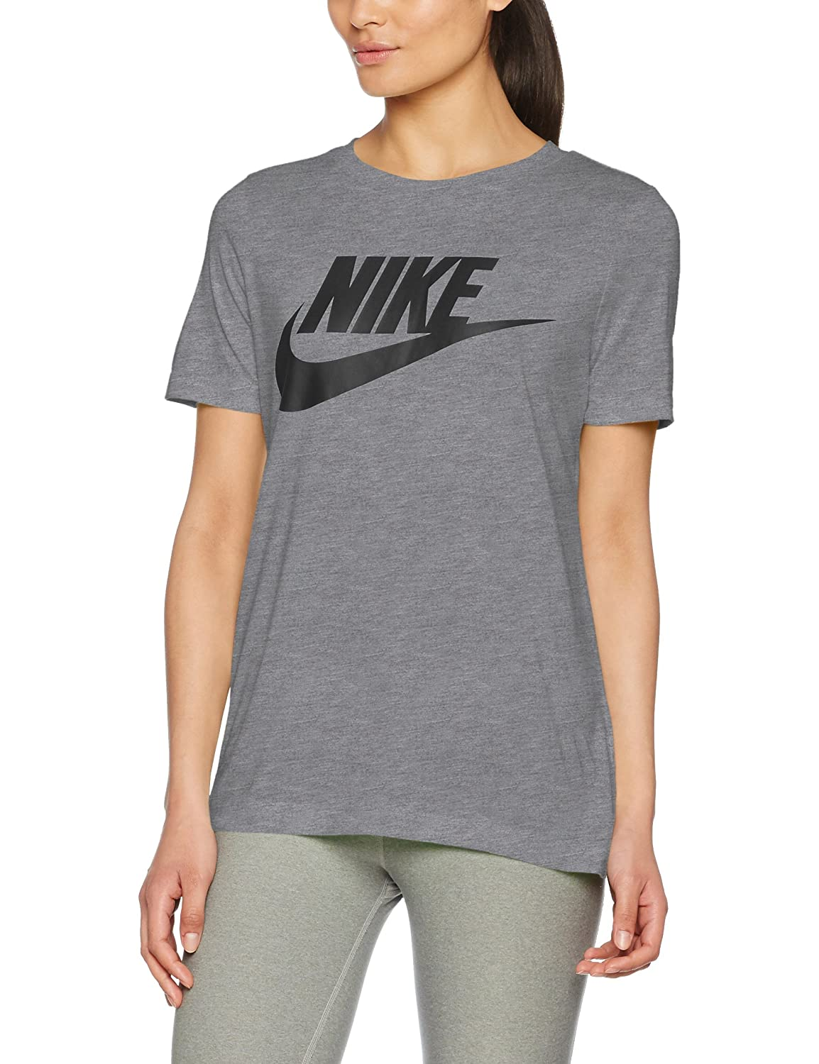 Nike Sportswear Essential Women's Logo Short Sleeve Top B01FVOSC22 X-Large|Carbon Heather/Anthracite