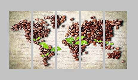 Amazon nan wind abstract coffee beans on grey paper world map nan wind abstract coffee beans on grey paper world map poster print painting wall art 5pcs gumiabroncs
