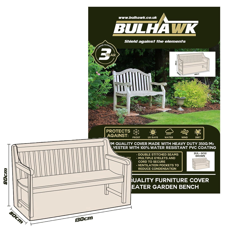 bulhawk® Cover für Gartenbank 2-Sitzer und 3-Sitzer Bank Bench, Superior Schutz, Heavy Duty Premium Qualität, 100% wasserdicht–Braun oder Grau