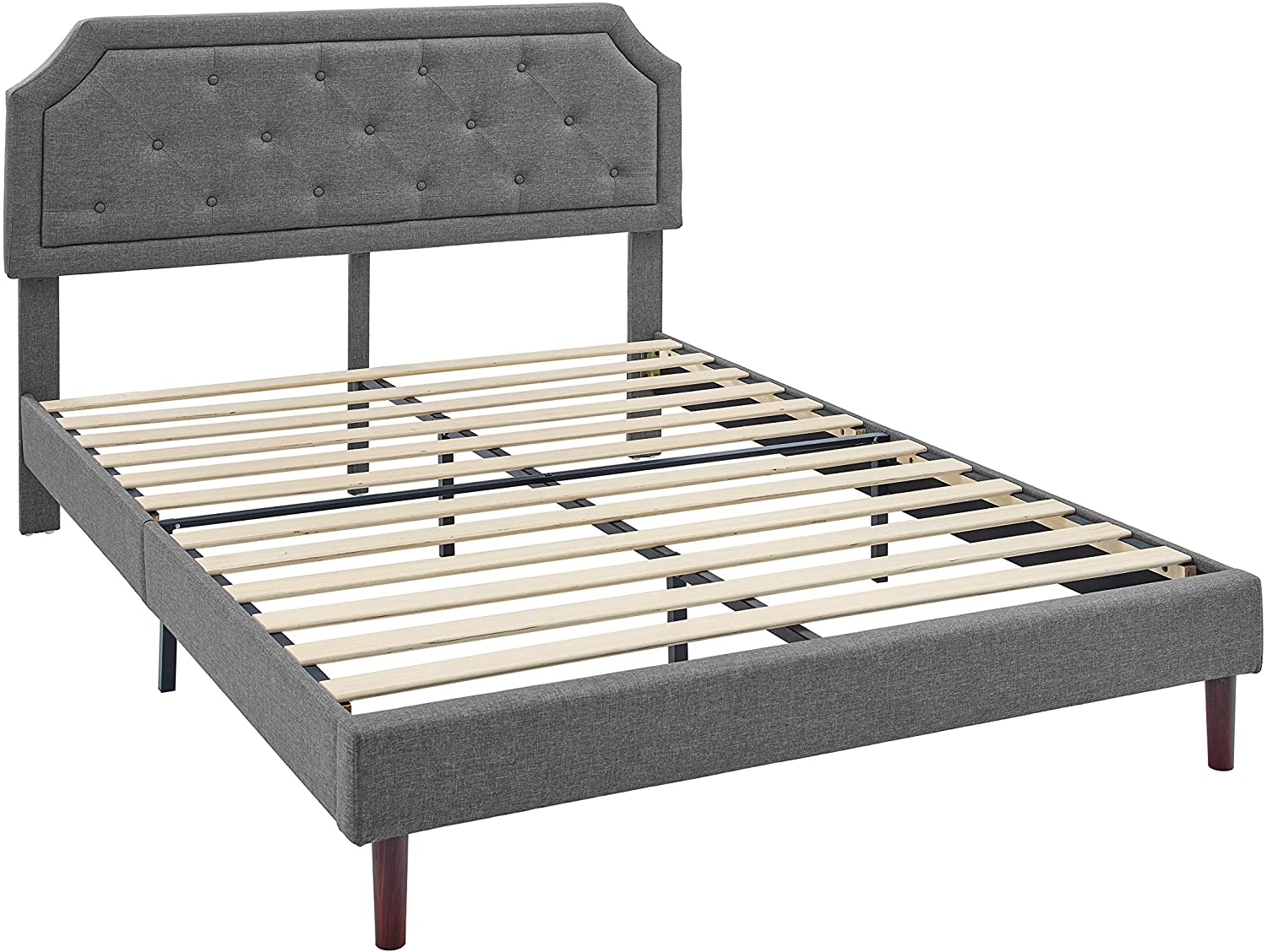 AmazonBasics Button Tufted-Upholstered Bed with Curve Design - Strong Wood Slat Support - Easy Assembly - Dark Grey, Queen