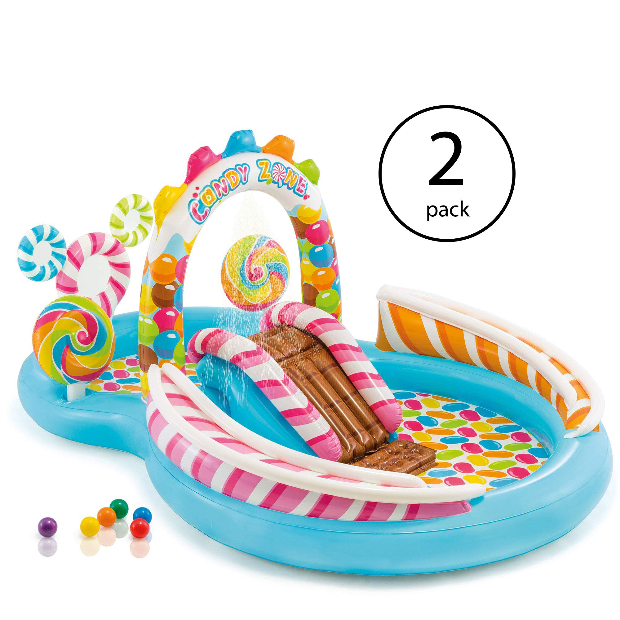 Intex Kids Inflatable Candy Zone Swim Play Center Kids Splash Pool w/ Waterslide (2 Pack)