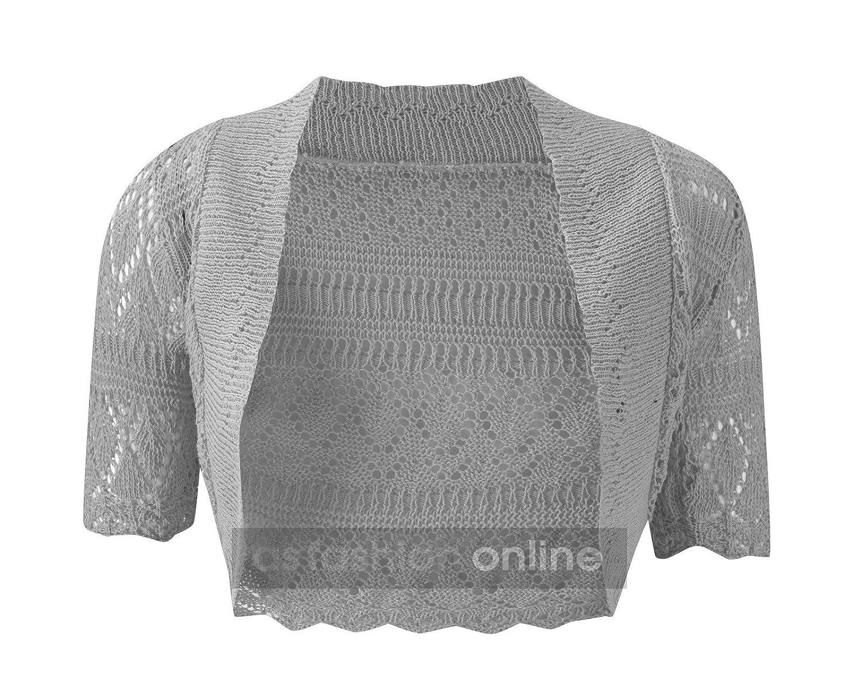 Ragazze manica lunga Crochet Bolero Scrollata da Donna Ritagliata Cardigan Lavorato a Maglia Tops